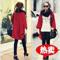 2013 autumn new arrival female loose medium-long batwing sleeve cardigan cape plus size sweater
