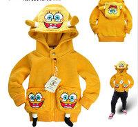 Children Superman / Sponge Bob Style Hooded Coat, Baby's Cartoon Jacket, Baby Garment \\ u0026 outwear, freeshipping