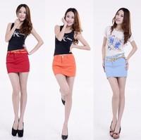 Pollera De Jeans 2013 slim hip skirt female slim candy color denim bust skirt short skirt step  saias shorts jeans