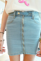 Pollera De Jeans Summer slim hip bust skirt long zipper denim slim hip skirt short saia jeans