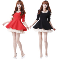 2013 spring and autumn women's elegant slim long-sleeve chiffon ruffle one-piece dress autumn and winter