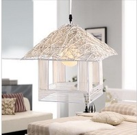 Rustic rattan american pendant light small house pendant light entranceway dining room pendant light