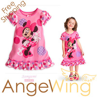 Wholesale New 2013 Summer Dress Girl's Cartoon Minnie Mouse Casual Cotton Polka Dot Dresses Free Shipping