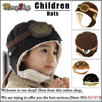 Free shipping Wholesale 2013 New Winter Baby Bomber Hats Children Hats Boys Pilot Cap Children Accessories Best Christmas Gift