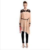 2013 European and American lapel irregular chiffon lace long-sleeved dress! Shipping!