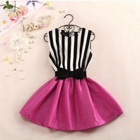 Dropshipping Brand New Fashion Women Summer Korea Stripe Cute High Waist Princess Tutu Dress Lady Casual Vestidos with Bow Belt