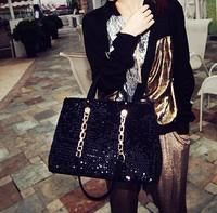 2014 christmas  fashion Spangle shiny  women messenger bag  cool chains casual shoulder bag
