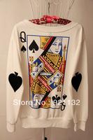 Free Shipping High Street Poker Card Queen Print Back Round Neck Long Sleeve Women's Newest Fashion Outwear Casual Sweatshirt