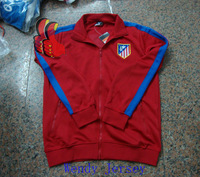 A+++ Top Men Brand Thailand N98 Spain Atletico Madrid Red Soccer Coat Embroidery Atletico Football Jacket Futebol Tracksuit