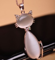 Cat necklace fashion cat-eye fresh design long necklace birthday gift clothing accessories