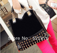 New arrival 2013 new rivet package stitching flannel bag shoulder bag fashion Rivet Studded Messenger Bag free shipping