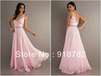 2013 New Arrival Designer Hot Selling Cheap Formal Fashion Pink Long Chiffon Brand Gowns Evening Dress