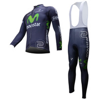 Movistar - 2013  Men's Fall and Winter Long Sleeves Thermal Cycling Suits /  LS Cycling Jersey +  Pants / BiB Pants Gel Padded