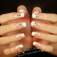 New 2014 Beautiful Bride 3d false nails,Wedding French Diamond Finger fake nail/nails tips,24 pcs /set,Free Shipping
