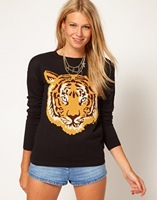 2014 Free shipping Autumn-Winter New Fashion Women Shirt Pullover Round Neck Sweater New Long-Sleeve Sweater Tiger Hoody Top
