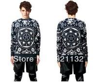 Free Shipping Super Stars Same Item Skull Geometry Print Round Neck Plus Size Hip Pop Style Unisex Hoodie Sweatshirt Coat Black