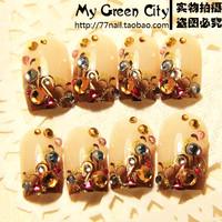 New 2014 Japanese Style beauty false nail, vintage bride fake nails,3d acrylic nail tips,24 pcs,free shipping