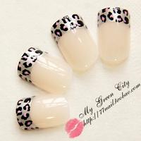 2014 Hot-selling High Quality leopard print nail tips, french gel False Nails,Short Design Fake Nail,24 pcs,Free Shipping