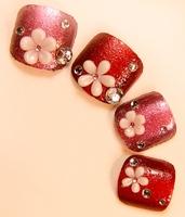 NEW 2014 High Quality hot red 3d toe Nails/False Nails/Fake Nail/Nail Tips,24 pcs,Free Shipping