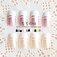 New 2014 High Quality natural/purple French Style full cover finger false nail tips,24 pcs with glue,Free Shipping