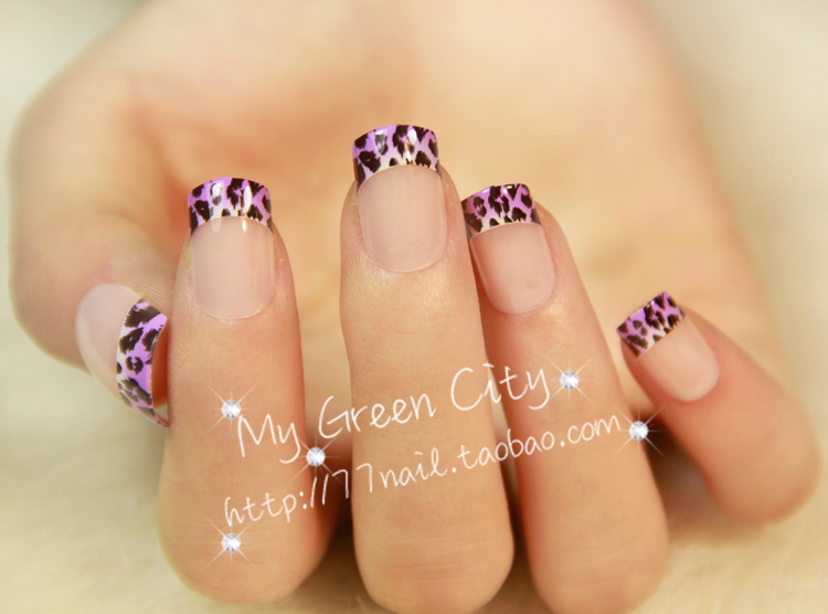 New 2013 Purple leopard print French finger false nail, short design fake nails,FREE SHIPPING(China (Mainland))