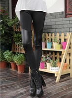Autumn  new arrival high quality fashion sexy stitching stretchy faux leather black leggings