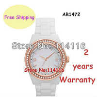 New Ladies Super Slim White Ceramica Sports Chronograph Watch AR1472 1472 Women Rose Gold Case Wristwatch + Original Box