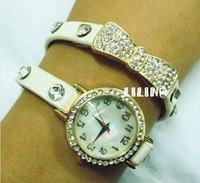 Hot Sale! Gold Plated Rhinestone Designer Woman Fashion Bow Tie Strap Watches Global Free shipping