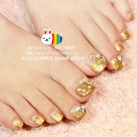 2014 New Dreamy Gold Glitter French Toe false nail/fake nail/nail tips,24pcs,free shipping