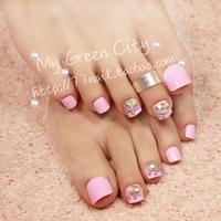 New Arrivals honey pink Rhinestone toe Nails/False Nails/Fake Nail/Nail Tips,24 pcs,Free Shipping