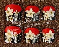 NEW 2013 High Quality Black and red 3d acrylic toe Nails/False Nails/Fake Nail/Nail Tips,24 pcs,Free Shipping