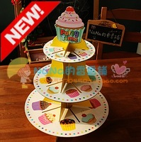 Free shipping! 2sets/lot, Multicolor cup cake stand, small exported paper cake stand, wedding birthday party paper cake plate