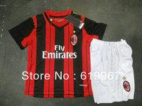 Customize! 2013/14 AC Milan home red/black kids soccer football jerseys + shorts kits,children soccer uniform free shipping