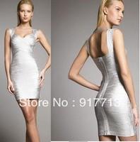 Free Shipping High Quality Fashion New Women Evening Dresses Silver Spaghetti Strap Bandage Dress Celebrity Prom Dress XS S M L