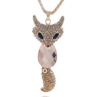 free shipping  fox necklace - eye vintage necklace long paragraph multi-layer design