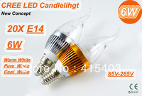6W E14 E27 3*2W 85-265V Super bright LED Candle Light Bulb Spot Light Warm/Pure White 20pcs/lot