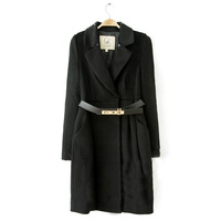 La turn-down collar long-sleeve wool medium-long belt outerwear wool coat