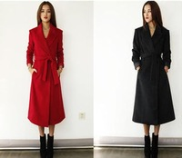 Ultra long slim wool cashmere overcoat wool coat woolen outerwear