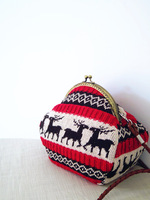 Elizabethans Christmas gift knitted vintage female metal buckle small messenger bag