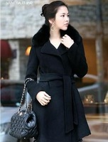 Gentlewomen winter fox fur long wool overcoat slim design trench