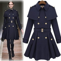 Star style poncho cape epaulette skirt wool coat outerwear camel Dark Blue