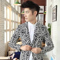 2013 mens floral blazer  autumn clothing  outerwear single slim casual elegant suit black and white print  for men
