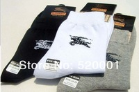 2013 Autumn/Winter 12 pairs/lot Men's Sport socks Cotton Brand socks men fit  for white black gray Free shipping