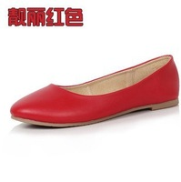 Genuine leather women's shoes shallow mouth flat heel cowhide candy color shoes single shoes