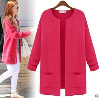 Free Shipping Sweaters 2013 Women Coat Fashion Pockets Design Candy Color Medium-Long Cardigan Sweater Casual Knitwear