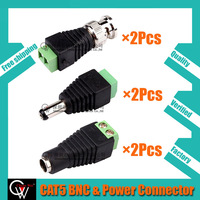2Set(6Pcs)/ CAT5 to BNC Coaxial Video Balun & Male Female DC Power Connectors ,2.1x5.5mm High Quality+Free shipping