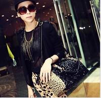 2014 new   promotional products fashion british style leopard bags black vintage handbag famous brand handbag sequined bling bag