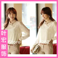 2013 new ladies bottoming shirt long-sleeved white shirt and beaded doll collar lace chiffon shirt wholesale