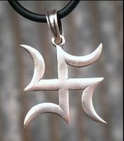 Swastika Symbol Buddhism Hindu Ganesha Zen Shinto Shaolin Silver Pewter Pendant_th