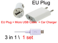 3 in 1 Mobile Phone (EU Plug 1 + Micro USB Cable 1 + Car Charger 1) Travel Kit for Huawei zte lenovo xiaomi